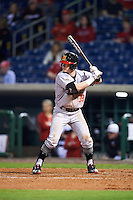 Maryland Terrapins second baseman Nick Dunn (39) at bat during a game against the Louisville Cardinals on February 18, 2017 at Spectrum Field in Clearwater, Florida.  Louisville defeated Maryland 10-7.  (Mike Janes/Four Seam Images)