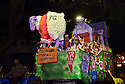 The Krewe D'Etat parade and its satirical floats get ready to roll in New Orleans on Friday, Feb. 24, 2017. (AFP/CHERYL GERBER)