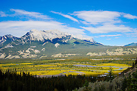 Jasper Mountain Range with blue skies and white clouds.