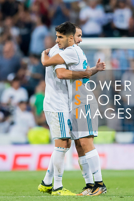 Marco Asensio Willemsen of Real Madrid celebrates with teammate Gareth Bale during their La Liga 2017-18 match between Real Madrid and Valencia CF at the Estadio Santiago Bernabeu on 27 August 2017 in Madrid, Spain. Photo by Diego Gonzalez / Power Sport Images