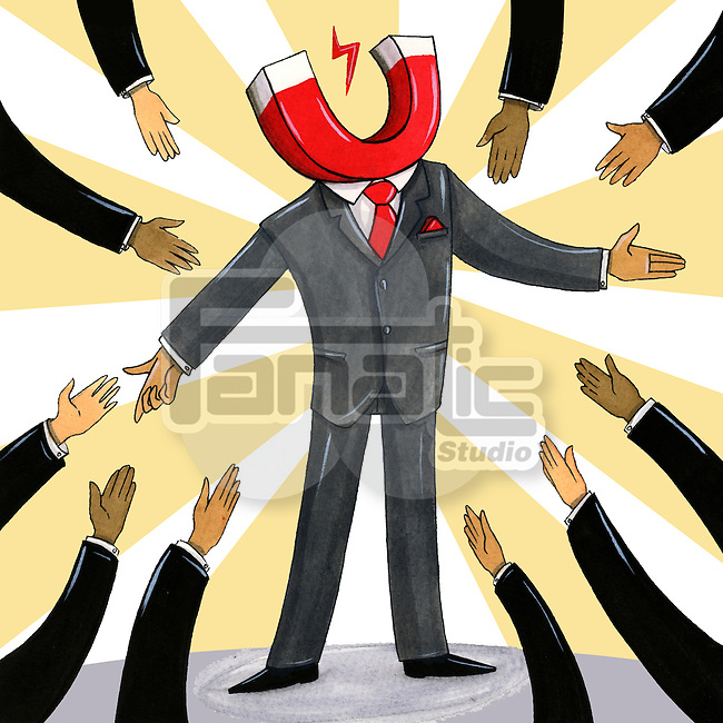 Illustration of business people attracted to a businessman with head in shape of magnet