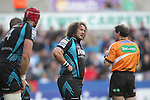 Adam Jones talks with referee Alain Rolland..RaboDirect Pro12 Play Off Semi Final.Ospreys v Munster.Liberty Stadium.11.05.12.©Steve Pope