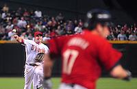 Apr. 30, 2008; Phoenix, AZ, USA; Arizona Diamondbacks shortstop Stephen Drew throws to first base against the Houston Astros at Chase Field. Mandatory Credit: Mark J. Rebilas-