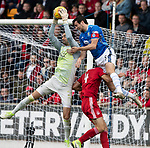 St Johnstone v Aberdeen…15.09.18…   McDiarmid Park     SPFL<br />Joe Shaughnessy puts Joe Lewis under pressure<br />Picture by Graeme Hart. <br />Copyright Perthshire Picture Agency<br />Tel: 01738 623350  Mobile: 07990 594431