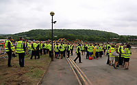 Pictured: Some of the 80 guests attending. Friday 23 June 2017<br /> Re: First Minister for Wales Carwyn Jones has joined Sir Terry Matthews, Chairman of the Celtic Manor Resort; Stephen Bowcott, Chief Executive of Sisk Group Construction; and Debbie Wilcox, Leader of Newport City Council, to break ground on the site of the new ICC Wales.<br /> Around 80 invited guests from the public and private sectors of the events industry have also witnessed the ground breaking ceremony which marks the official start of the construction of the new venue, due to open in 2019.<br /> The dignitaries will use commemorative spades to symbolically dig the first ground on the new site, marking the start of building work in earnest.
