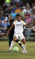 Han Duan #9  hold soff Tina Ellerton..Saint Louis Athletica were defeated 2-1 by LA Sol at Anheuser-Busch  Soccer Park, Fenton, Missouri.