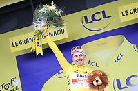 3rd July 2021; Oyonnax, Auvergne-Rhône-Alpes, France; TOUR DE FRANCE 2021 UCI Cycling World Tour Stage 8  from Oyonnax to Le Grand Bornand;  <br /> Tadej Pogacar Slovenia Uae Team Emirates on the podium