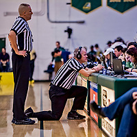 19 January 2019: Game referees review a play between the University of Vermont Catamounts and the Binghamton University Bearcats at Patrick Gymnasium in Burlington, Vermont. The Bearcats fell to the Catamounts 78-50 in America East conference play. Mandatory Credit: Ed Wolfstein Photo *** RAW (NEF) Image File Available ***