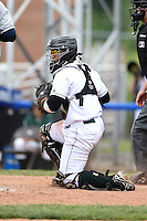 Jamestown Jammers catcher Deybi Garcia (7) check the runner during a game against the Mahoning Valley Scrappers on June 16, 2014 at Russell Diethrick Park in Jamestown, New York.  Mahoning Valley defeated Jamestown 2-1.  (Mike Janes/Four Seam Images)