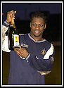 25/1/03       Copyright Pic : James Stewart                  .File Name : stewart-falkirk v hearts 14.COLLIN SAMUEL CELEBRATES AT THE END OF THE GAME WITH HIS MAN OF THE MATCH AWARD.......James Stewart Photo Agency, 19 Carronlea Drive, Falkirk. FK2 8DN      Vat Reg No. 607 6932 25.Office : +44 (0)1324 570906     .Mobile : + 44 (0)7721 416997.Fax     :  +44 (0)1324 570906.E-mail : jim@jspa.co.uk.If you require further information then contact Jim Stewart on any of the numbers above.........