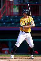 Erie SeaWolves Kerry Carpenter (16) bats during a game against the Harrisburg Senators on September 5, 2021 at UPMC Park in Erie, Pennsylvania.  (Mike Janes/Four Seam Images)