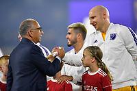 Orlando, FL - Wednesday July 31, 2019:  Carlos Cordeiro, Brad Guzman #1 prior to an Major League Soccer (MLS) All-Star match between the MLS All-Stars and Atletico Madrid at Exploria Stadium.