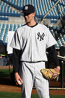 February 25, 2010:  Pitcher Andrew Brackman of the New York Yankees during waits for his turn photo day at Legends Field in Tampa, FL.  Photo By Mike Janes/Four Seam Images
