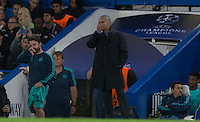 Chelsea Manager José Mourinho covers his face during the UEFA Champions League match between Chelsea and Maccabi Tel Aviv at Stamford Bridge, London, England on 16 September 2015. Photo by Andy Rowland.