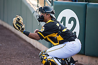 Carlos Perez (20) of the Salt Lake Bees before the game against the Sacramento River Cats in Pacific Coast League action at Smith's Ballpark on April 20, 2015 in Salt Lake City, Utah.  (Stephen Smith/Four Seam Images)