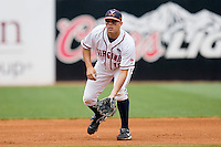 Third baseman Steven Proscia #19 of the Virginia Cavaliers on defense against the Miami Hurricanes at the 2010 ACC Baseball Tournament at NewBridge Bank Park May 29, 2010, in Greensboro, North Carolina.  The Cavaliers defeated the Hurricanes 12-8.  Photo by Brian Westerholt / Four Seam Images