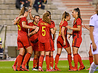 Tine De Caigny (6) of Belgium pictured celebrating with teammates after scoring a goal during a female soccer game between the national teams of Belgium , called the Red Flames and Albania in the second game in the qualification for the  FIFA Women's World Cup in group F , on tuesday 21 st of September 2021  in Brussels , Belgium . PHOTO SPORTPIX