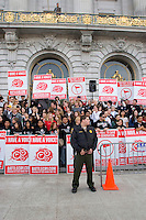 Ron Luce,the President and Founder of Teen Mania Ministries, and a large support group rally in front of San Francisco City Hall on the eve of Battle Cry SF (faith worship). The group has experience unwelcoming tension in the past from the city, as they did this year. San Francisco, California