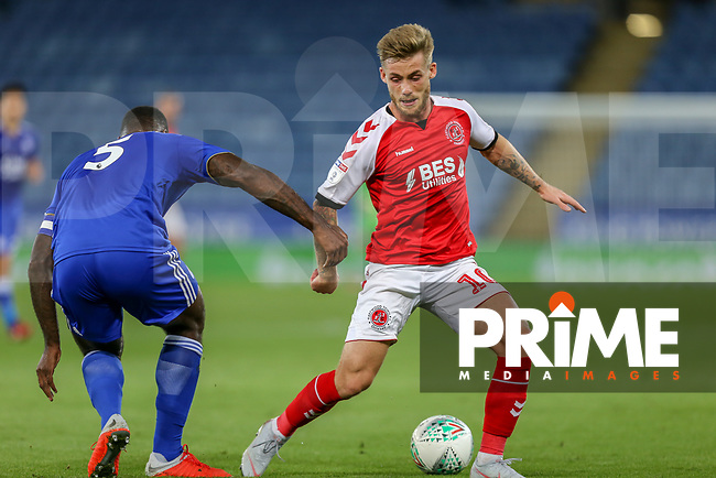 Conor McAleny of Fleetwood Town (right) during the English League Cup Round 2 Group North match between Leicester City and Fleetwood Town at the King Power Stadium, Leicester, England on 28 August 2018. Photo by David Horn.