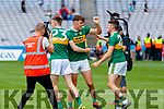 David Clifford, and Graham O'Sullivan, Kerry players celebrate after the All Ireland Senior Football Semi Final between Kerry and Tyrone at Croke Park, Dublin on Sunday.