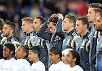 UEFA European Championship at Cardiff City Stadium - Wales v Cyprus : <br /> Gareth Bale of Wales adjusts his hairband ahead of the national anthems.
