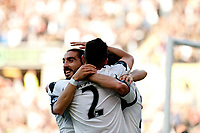 Saturday 19 October 2013 Pictured: Chico Flores ( Left ) Celebrates with team mates<br /> Re: Barclays Premier League Swansea City vSunderland at the Liberty Stadium, Swansea, Wales