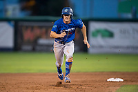 Ogden Raptors center fielder James Outman (47) hustles towards third base during a Pioneer League game against the Orem Owlz at Home of the OWLZ on August 24, 2018 in Orem, Utah. The Ogden Raptors defeated the Orem Owlz by a score of 13-5. (Zachary Lucy/Four Seam Images)