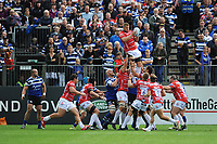 Ed Slater of Gloucester Rugby wins the linnet ball during the Gallagher Premiership Rugby match between Bath Rugby and Gloucester Rugby at The Recreation Ground on Saturday 8th September 2018 (Photo by Rob Munro/Stewart Communications)