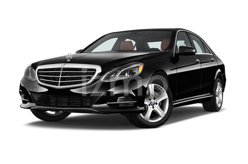 Stock pictures of low aggressive front three quarter view of a 2015 Mercedes Benz E Class Elegance 4 Door Sedan