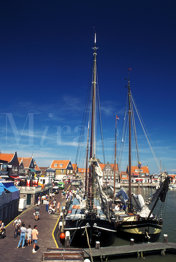 Netherlands, Holland, Volendam, Noord-Holland, Europe, Waterfront on the harbor on Markermeer in the town of Volendam.