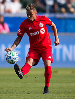 CARSON, CA - FEBRUARY 15: Auro Jr. #96 of Toronto FC during a game between Toronto FC and Los Angeles Galaxy at Dignity Health Sports Park on February 15, 2020 in Carson, California.