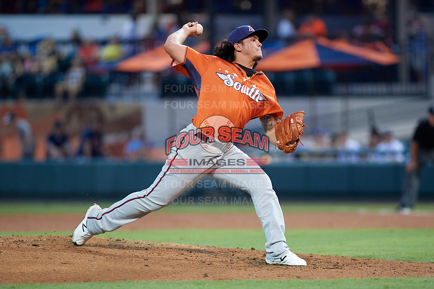 Fort Myers Miracle pitcher Dereck Rodriguez (34) during the Florida State League All-Star Game on June 17, 2017 at Joker Marchant Stadium in Lakeland, Florida.  FSL North All-Stars defeated the FSL South All-Stars  5-2.  (Mike Janes/Four Seam Images)