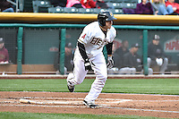 J.B. Shuck (3) of the Salt Lake Bees hustles down the first base line against the Sacramento River Cats at Smith's Ballpark on April 3, 2014 in Salt Lake City, Utah.  (Stephen Smith/Four Seam Images)