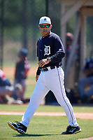 Detroit Tigers Mike Rabelo during a Minor League Spring Training game against the Atlanta Braves on March 22, 2018 at the TigerTown Complex in Lakeland, Florida.  (Mike Janes/Four Seam Images)