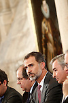 King Felipe VI of Spain next to a picture of the monarch Felipe III of Spain. November 23, 2016.(ALTERPHOTOS/Acero)