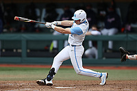 North Carolina Tar Heels shortstop Danny Serretti (1) at bat against the Virginia Cavaliers at Boshamer Stadium on February 27, 2021 in Chapel Hill, North Carolina. (Andy Mead/Four Seam Images)