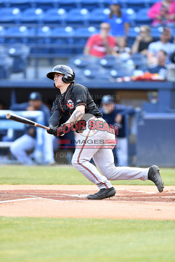 Delmarva Shorebirds shortstop Cadyn Grenier (3) swings at a pitch during a game against the Asheville Tourists at McCormick Field on May 3, 2019 in Asheville, North Carolina. The Shorebirds defeated the Tourists 6-5. (Tony Farlow/Four Seam Images)