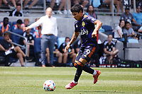 ST PAUL, MN - JULY 18: Raul Ruidiaz #9 of the Seattle Sounders FC during a game between Seattle Sounders FC and Minnesota United FC at Allianz Field on July 18, 2021 in St Paul, Minnesota.