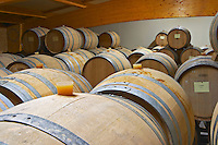 Oak barrels for fermenting and aging white wine.  Domaine Yves Cuilleron, Chavanay, Ampuis, Rhone, France, Europe