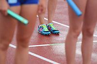Leichtathletik, Deutsche Meisterschaft vom 25. bis 27.07.2014 im Donaustadion Ulm und auf dem Münsterplatz. Im Bild: Bereit für die Staffel. Symbolbild.