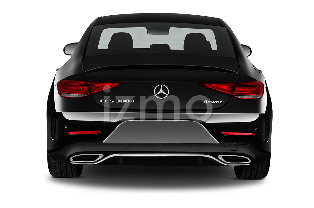 Straight rear view of 2022 Mercedes Benz CLS-Coupe AMG-Line 4 Door Sedan Rear View  stock images