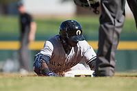 Glendale Desert Dogs right fielder Estevan Florial (13), of the New York Yankees organization, slides into third base during an Arizona Fall League game against the Mesa Solar Sox at Sloan Park on October 27, 2018 in Mesa, Arizona. Glendale defeated Mesa 7-6. (Zachary Lucy/Four Seam Images)