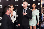"""English actress Emma Watson, left, US director Darren Aronofsky, centre, and US actress Jennifer Connelly attend the Premiere of the movie """"Noah"""" in Madrid. March 17, 2014. (ALTERPHOTOS/Carlos Dafonte)"""