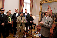 South America, Argentina, Buenos Aires, Evangelism - An evangelical group prays with Buenos Aires Mayor, Chief of Government, Jorge Telerman in his office. July 2006, ©Stephen Blake Farrington<br />