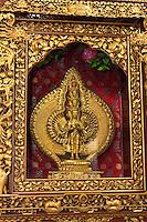 Bodhnath, Nepal.  Statue Showing Nine Faces of the Buddha, inside the Tsamchen Gompa (Tibetan Buddhist Monastery).