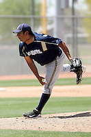 Zack Segovia of the Milwaukee Brewers plays in a spring training game against the Los Angeles Dodgers at the Brewers complex on April 2, 2011 in Phoenix, Arizona. .Photo by:  Bill Mitchell/Four Seam Images.