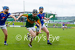 Colin Walsh, Kerry in action against Peter Keane and Martin O'Brien, Wicklow in the Allianz National Hurling League Division 2A Round 4 at Austin Stack Park, Tralee on Saturday.