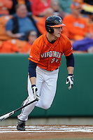 Virginia Cavaliers right fielder Joe McCarthy #31 swings at a pitch during a game against the Clemson Tigers at Doug Kingsmore Stadium on March 15, 2013 in Clemson, South Carolina. The Cavaliers won 6-5.(Tony Farlow/Four Seam Images).