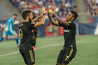 FOXBOROUGH, MA - AUGUST 3: Diego Rossi #9 of Los Angeles FC and Latif Blessing #7 of Los Angeles FC celebrate the first goal during a game between Los Angeles FC and New England Revolution at Gillette Stadium on August 3, 2019 in Foxborough, Massachusetts.