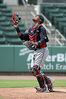 Minnesota Twins catcher Brian Navarreto (27) during an Instructional League game against the Boston Red Sox on September 26, 2014 at jetBlue Park at Fenway South in Fort Myers, Florida.  (Mike Janes/Four Seam Images)